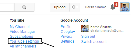 Youtube Setting
