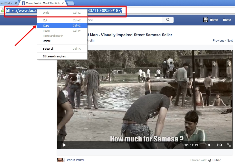 Just Copy facebook video's download link.