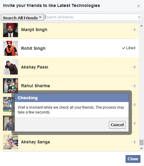 Invite all Facebook Friends By Single Click