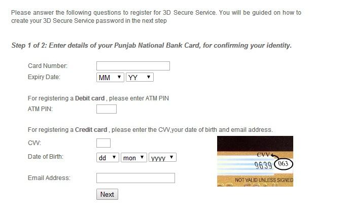 Enter Details of PNB ATM / Debit Card to unblock 3D Secure Service