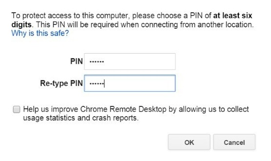 Generate a PIN for Chrome Remote Desktop