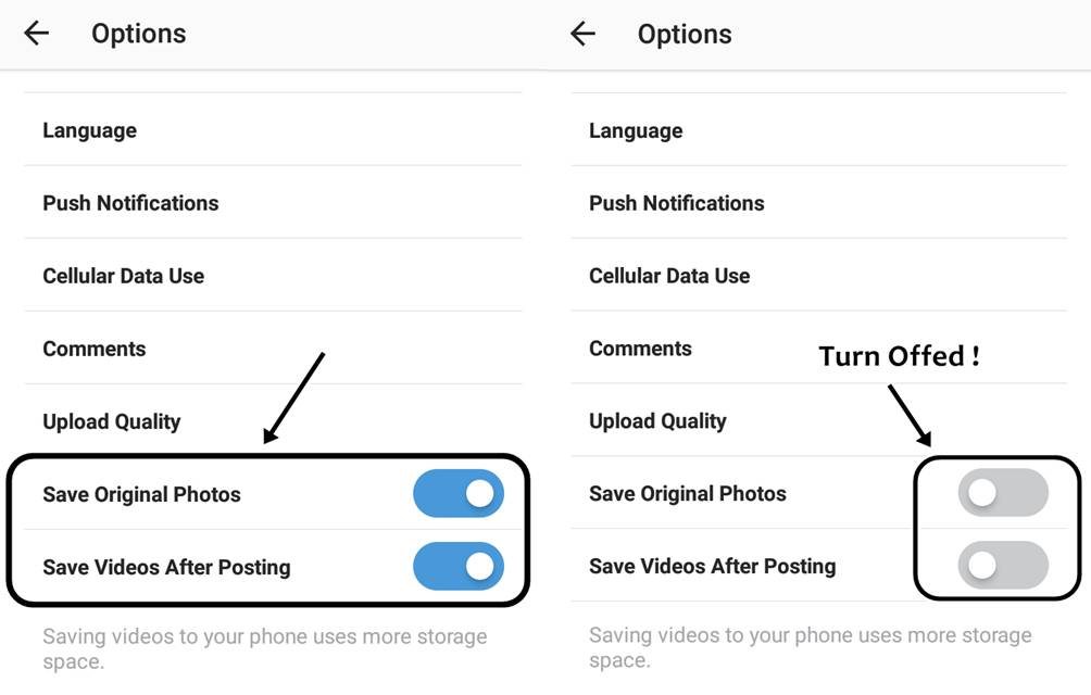 How to Disabling Instagram from Saving Pictures, Videos in Phone ?