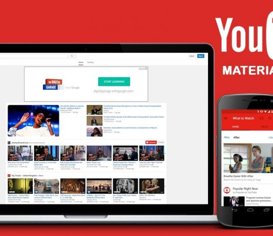 Open YouTube website in Material Design view
