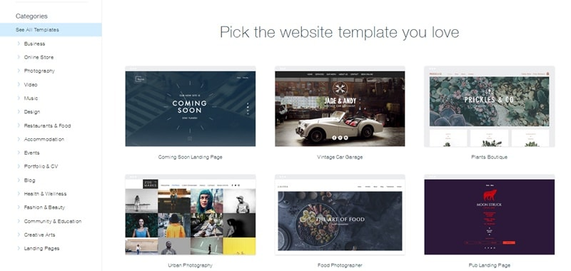 Choose Template in Wix